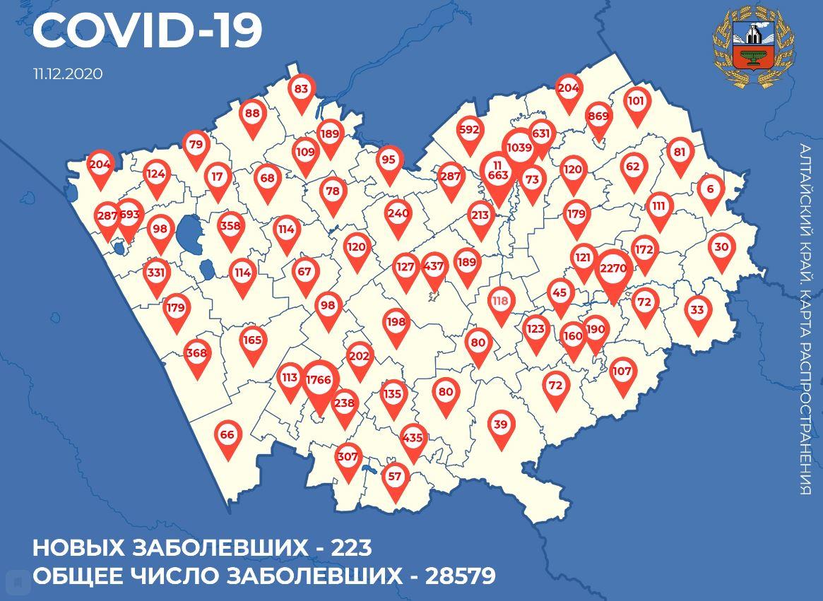 Карта распространения коронавируса по районам и городам Алтайского края на сегодня