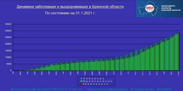 Коронавирус в Брянской области - ситуация на 1 февраля 2021
