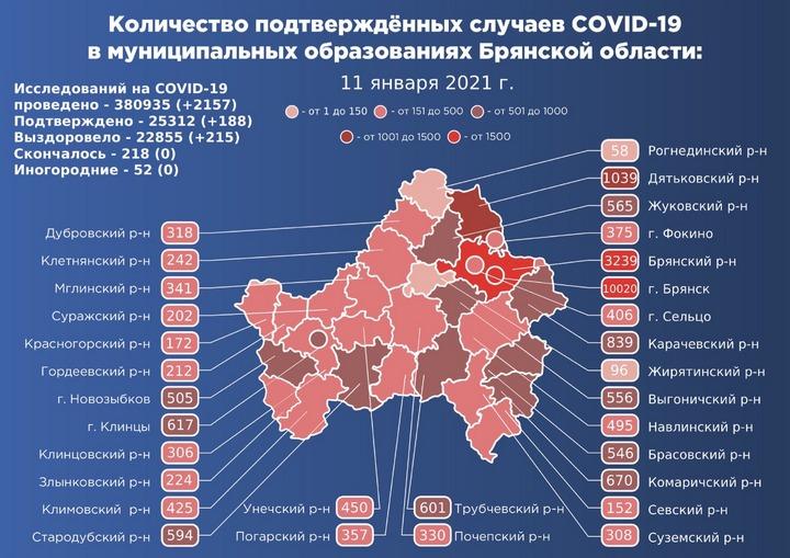 Коронавирус в Брянской области - ситуация на 11 января 2021