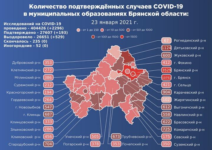 Коронавирус в Брянской области - ситуация на 23 января 2021
