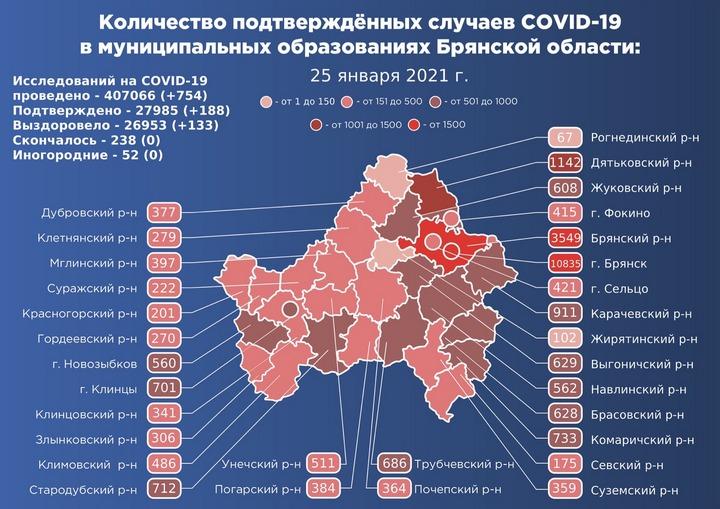 Коронавирус в Брянской области - ситуация на 25 января 2021
