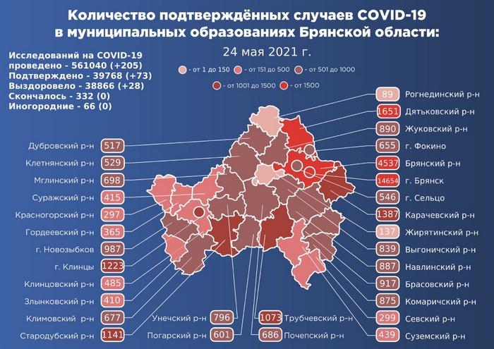 Коронавирус в Брянской области - ситуация на 24 мая 2021