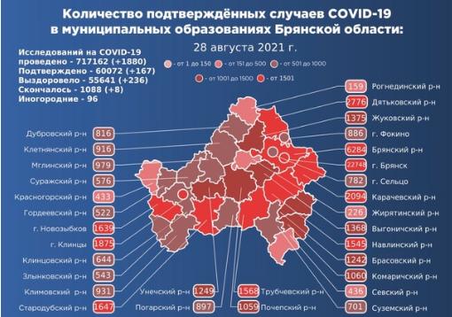 Коронавирус в Брянской области - ситуация на 28 августа 2021
