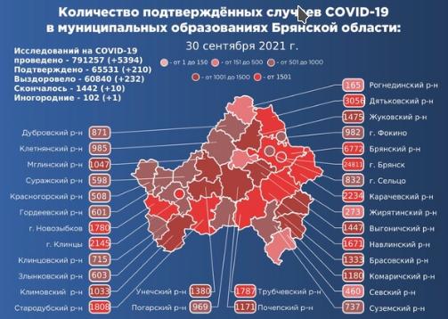 Коронавирус в Брянской области - ситуация на 1 октября 2021