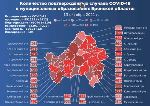 Коронавирус в Брянской области - ситуация на 13 октября 2021