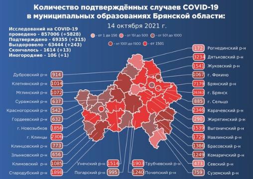 Коронавирус в Брянской области - ситуация на 14 октября 2021